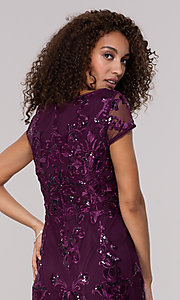 Image of knee-length wedding-guest dress in eggplant purple. Style: JU-MA-261915 Detail Image 2