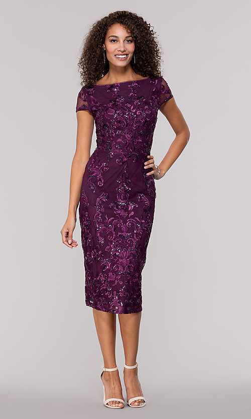 758a17c870c Image of knee-length wedding-guest dress in eggplant purple. Style  JU