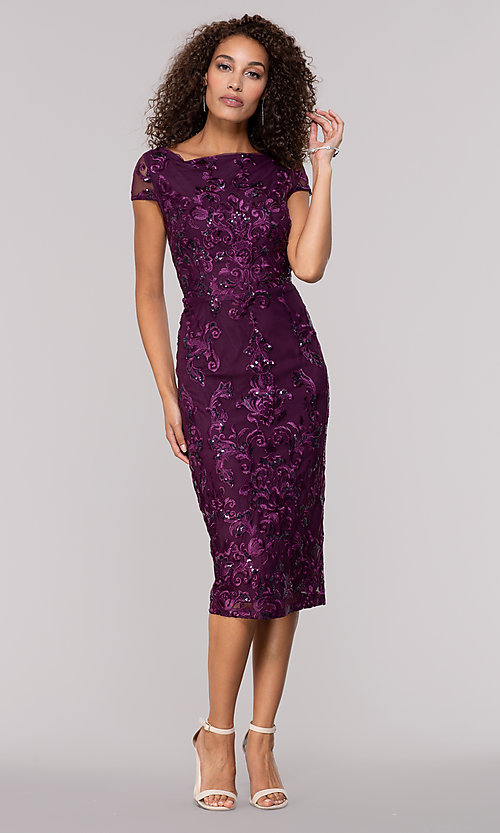Image of knee-length wedding-guest dress in eggplant purple. Style: JU-MA-261915 Detail Image 3