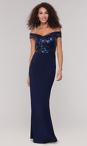 Image of navy blue long formal dress with sequin bodice. Style: JU-MA-262100 Front Image