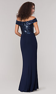 Image of navy blue long formal dress with sequin bodice. Style: JU-MA-262100 Back Image