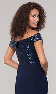 Image of navy blue long formal dress with sequin bodice. Style: JU-MA-262100 Detail Image 2