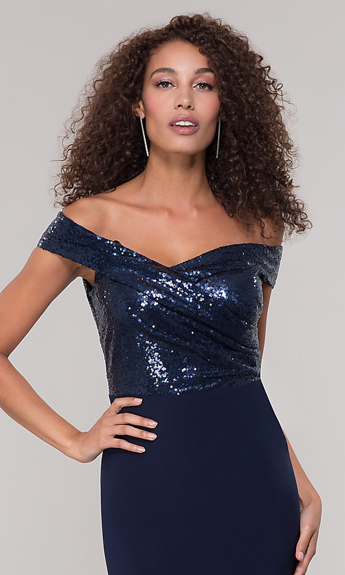 Image of navy blue long formal dress with sequin bodice. Style: JU-MA-262100 Detail Image 1