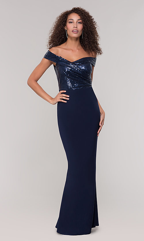 Image of navy blue long formal dress with sequin bodice. Style: JU-MA-262100 Detail Image 3