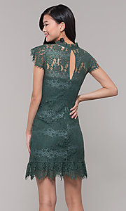 Image of jade green lace short holiday party dress. Style: AS-J5533D1J00 Back Image