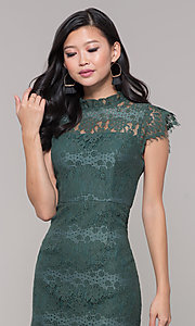 Image of jade green lace short holiday party dress. Style: AS-J5533D1J00 Detail Image 1