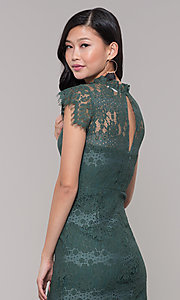 Image of jade green lace short holiday party dress. Style: AS-J5533D1J00 Detail Image 2