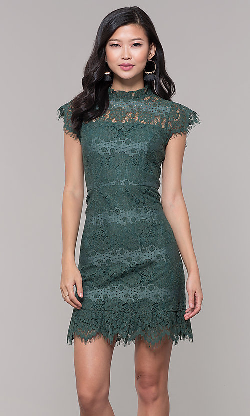 Image of jade green lace short holiday party dress. Style: AS-J5533D1J00 Front Image