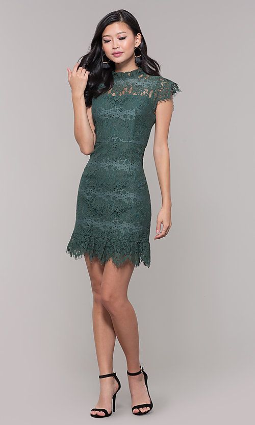Image of jade green lace short holiday party dress. Style: AS-J5533D1J00 Detail Image 3