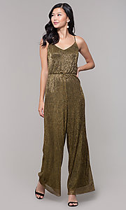 Image of black and gold metallic v-neck holiday jumpsuit. Style: AS-J4067687 Detail Image 3