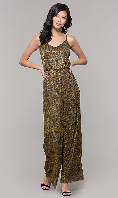 Image of black and gold metallic v-neck holiday jumpsuit. Style: AS-J4067687 Front Image