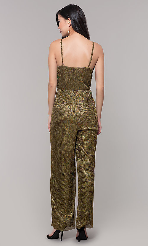 Image of black and gold metallic v-neck holiday jumpsuit. Style: AS-J4067687 Back Image