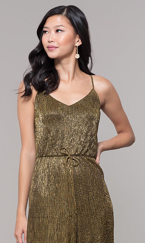 Image of black and gold metallic v-neck holiday jumpsuit. Style: AS-J4067687 Detail Image 1
