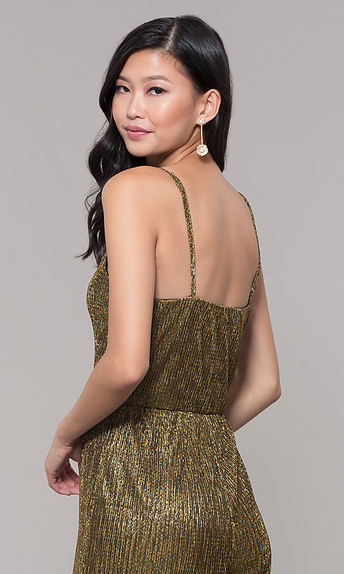 Image of black and gold metallic v-neck holiday jumpsuit. Style: AS-J4067687 Detail Image 2