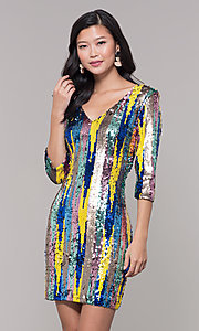 Image of sequin short holiday party dress with 3/4 sleeves. Style: AS-J5535D9C00 Front Image