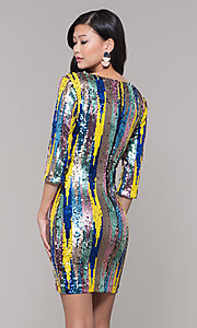 Image of sequin short holiday party dress with 3/4 sleeves. Style: AS-J5535D9C00 Back Image