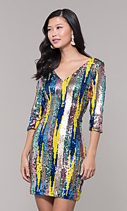 Image of sequin short holiday party dress with 3/4 sleeves. Style: AS-J5535D9C00 Detail Image 1