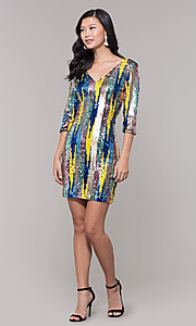 Image of sequin short holiday party dress with 3/4 sleeves. Style: AS-J5535D9C00 Detail Image 3