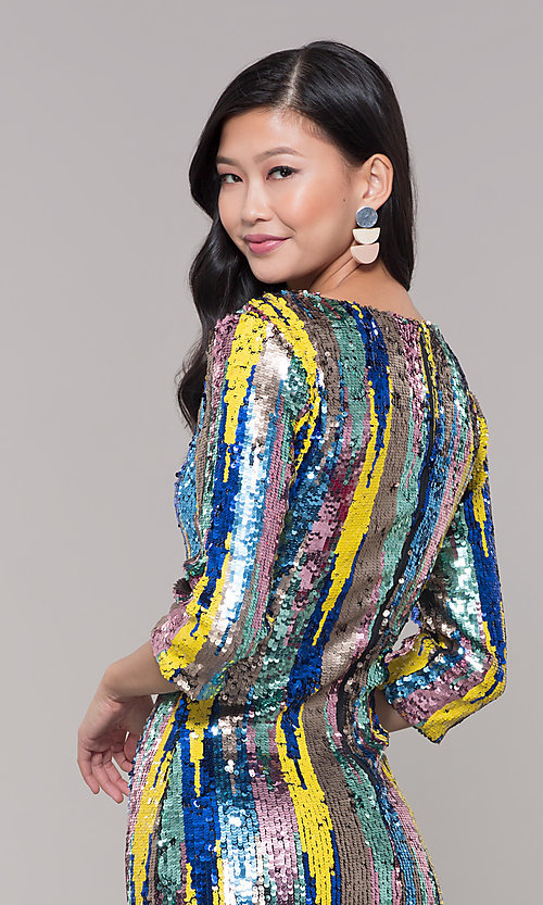 Image of sequin short holiday party dress with 3/4 sleeves. Style: AS-J5535D9C00 Detail Image 2