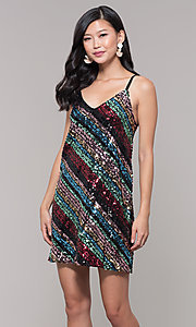 Image of short sequin holiday party dress with stripes. Style: AS-A9567D9B81 Front Image