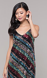 Image of short sequin holiday party dress with stripes. Style: AS-A9567D9B81 Detail Image 1