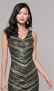 Image of black and gold short sequin holiday party dress. Style: AS-A9808-864 Detail Image 1