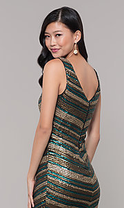 Image of black and gold short sequin holiday party dress. Style: AS-A9808-864 Detail Image 2