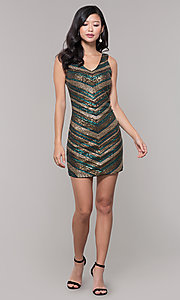 Image of black and gold short sequin holiday party dress. Style: AS-A9808-864 Detail Image 3