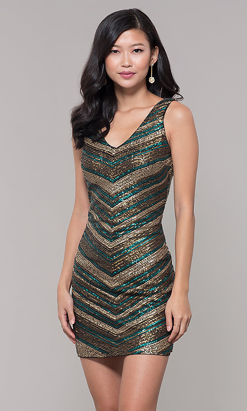 Image of black and gold short sequin holiday party dress. Style: AS-A9808-864 Front Image