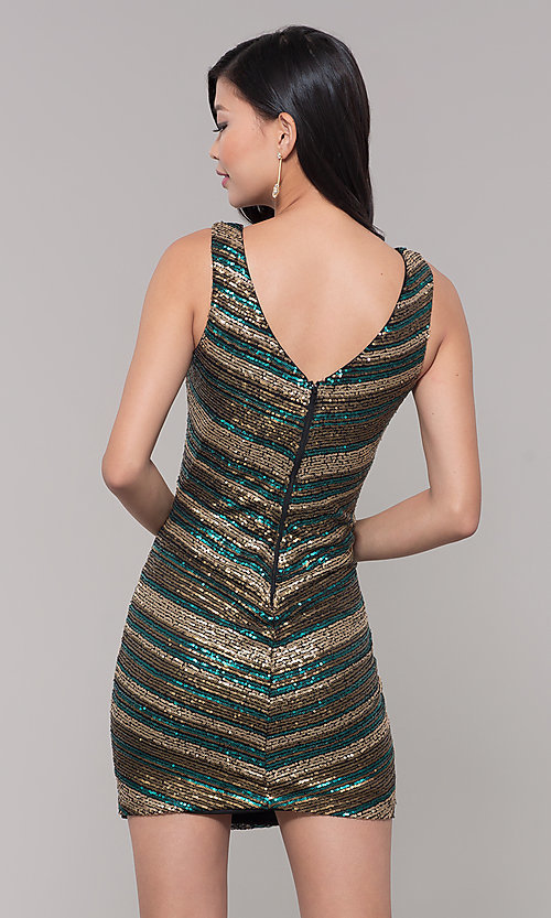 Image of black and gold short sequin holiday party dress. Style: AS-A9808-864 Back Image