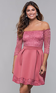Image of off-the-shoulder short party dress with lace bodice. Style: CL-46374 Detail Image 1