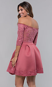 Image of off-the-shoulder short party dress with lace bodice. Style: CL-46374 Back Image