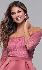 Image of off-the-shoulder short party dress with lace bodice. Style: CL-46374 Detail Image 2