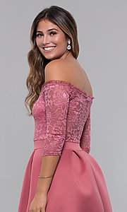 Image of off-the-shoulder short party dress with lace bodice. Style: CL-46374 Detail Image 3