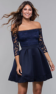 Image of off-the-shoulder short party dress with lace bodice. Style: CL-46374 Front Image