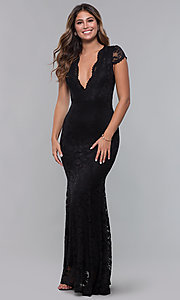 Image of cap-sleeve deep-v-neck long lace formal dress. Style: CL-46421 Back Image