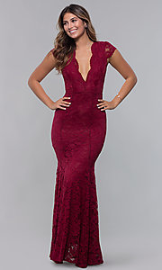 Image of cap-sleeve deep-v-neck long lace formal dress. Style: CL-46421 Detail Image 3