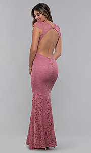 Image of cap-sleeve deep-v-neck long lace formal dress. Style: CL-46421 Detail Image 7