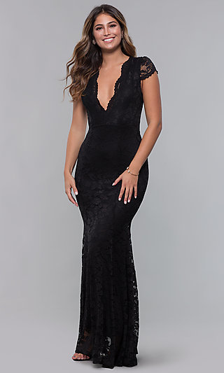 Cap-Sleeve Deep-V-Neck Long Lace Formal Dress