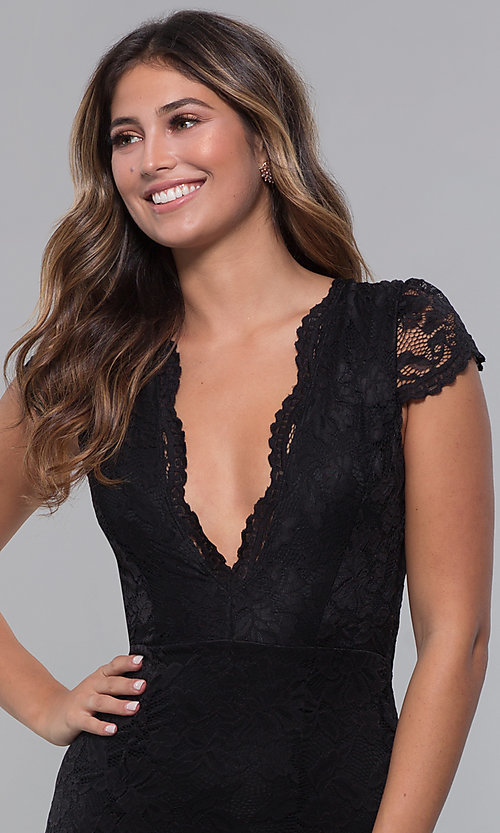 Image of cap-sleeve deep-v-neck long lace formal dress. Style: CL-46421 Detail Image 1