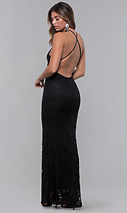 Image of open-back long lace formal dress with high neckline. Style: CL-46554 Detail Image 2