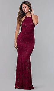 Image of open-back long lace formal dress with high neckline. Style: CL-46554 Front Image