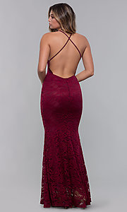 Image of open-back long lace formal dress with high neckline. Style: CL-46554 Back Image