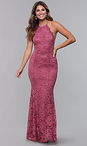 Image of open-back long lace formal dress with high neckline. Style: CL-46554 Detail Image 5