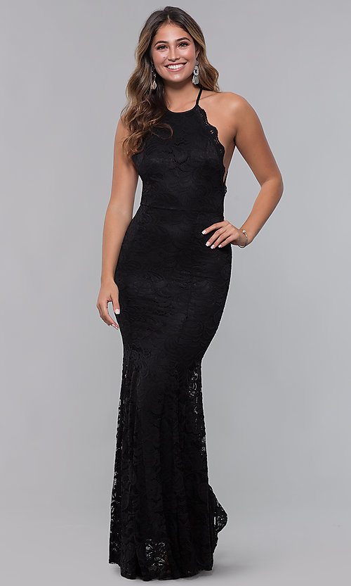 Image of open-back long lace formal dress with high neckline. Style: CL-46554 Detail Image 1