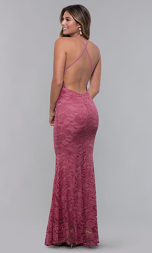 Image of open-back long lace formal dress with high neckline. Style: CL-46554 Detail Image 6