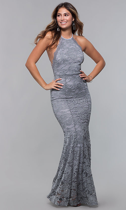 Image of open-back long lace formal dress with high neckline. Style: CL-46554 Detail Image 3