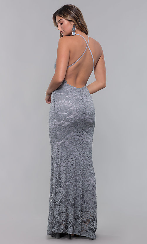 Image of open-back long lace formal dress with high neckline. Style: CL-46554 Detail Image 8
