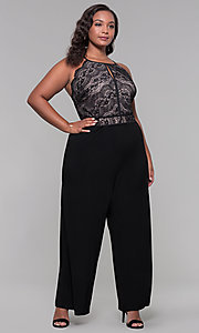 Image of holiday party plus-size lace-bodice black jumpsuit. Style: AS-A9809U557X Front Image