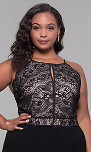 Image of holiday party plus-size lace-bodice black jumpsuit. Style: AS-A9809U557X Detail Image 1